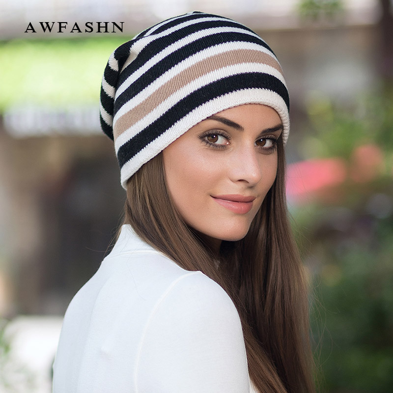 2018 New Fashion Lady Stripe Pattern Knit Beanies Hat Winter Woman Hat Woman Soft Cap Wool Warm Skullies Slouchy Bone Cotton Ski To Have A Unique National Style