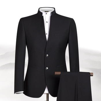 Customized Chinese style stand collar men's suit (jacket + pants) men's dance party party dress wedding groom groomsmen dress