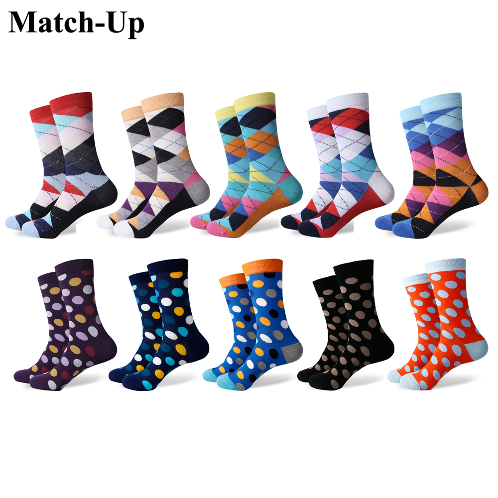 Match Up Fun Dress Socks Colorful Funky Socks for Men Cotton Fashion Patterned Socks Dot and