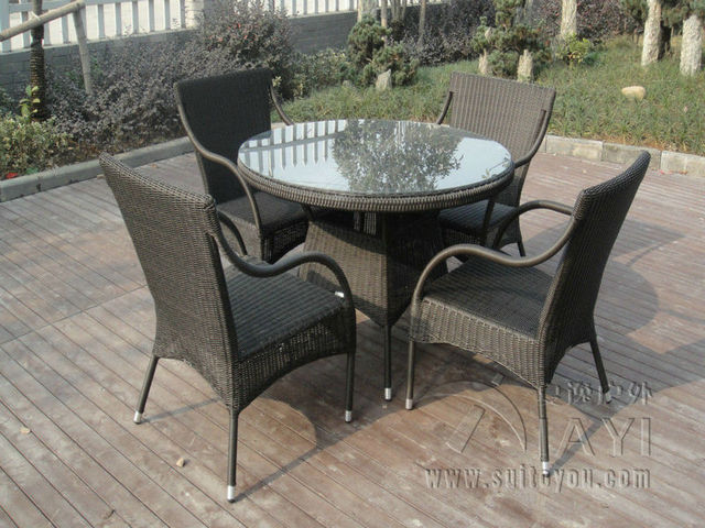 5 pcs Leisure Rattan Garden Dining Sets Patio For Home / Restaurant transport by sea