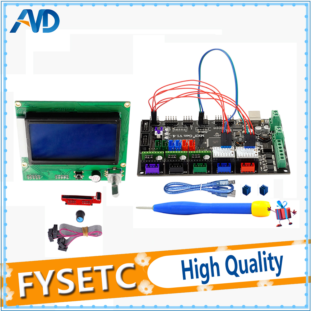 UpdateNew 12864 Graphic LCD Set +1PC MKS Gen V1.4 3D Printer 4 Layers PCB Controller Board + 2PCS TMC2130 V1.1 SPI Silent Driver стоимость