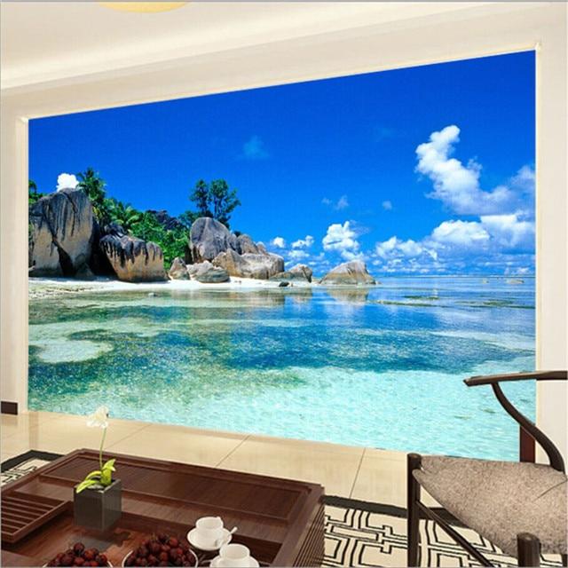 Beibehang 3D Wallpaper Non Woven Bedroom Living Room TV Sofa Background Ocean Beach