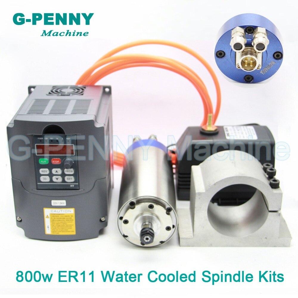 220 V 800 W Refrigeração a Água CNC Motor Spindle 65 ER11 milímetros Trabalhar Madeira Do Eixo & 1.5kw VFD & 65mm suporte & 75 w bomba de água
