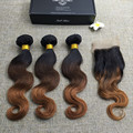 Full Shine Ombre Color 1B 4 30 Brazilian Remy Human Hair 3 Bundles With 4*4 Lace Closure Body Wave Hair Weft