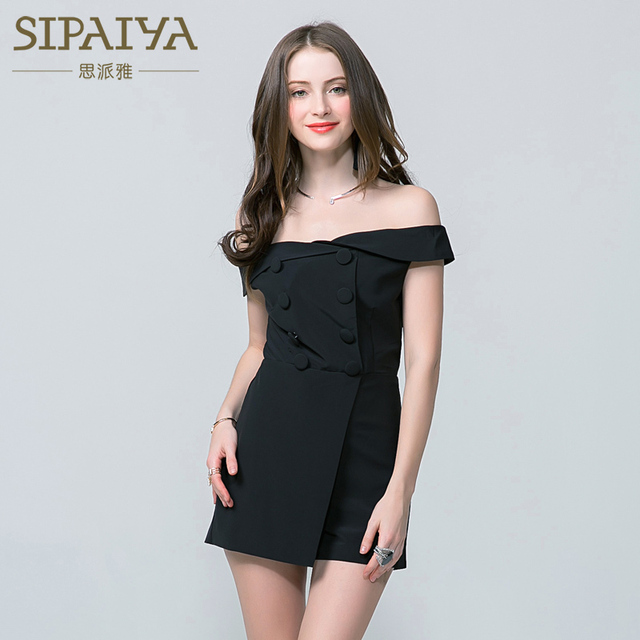 de97713d677b SIPAIYA 2017 Brand New Playsuits For Women Fashion Sexy Slash Neck Short  Sleeve Office Formal Casual Rompers Playsuit