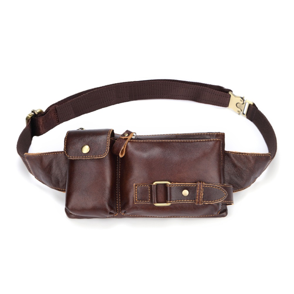 Vintage Genuine Leather Men Outdoor Casual Belt Bag Waist Bags
