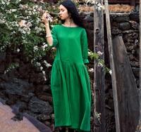 2018 Spring Summer women long sleeve dress,Comfortable cotton linen dress,plus size girl Elegant dress,big size clothing S 6XL