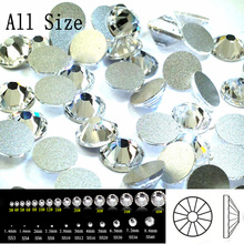 2058NoHF SS3-SS50 All Sizes Crystal Non Hotfix Flatback Glitter Nail Rhinestones Nails Accessories Nail Art Decorations Strass