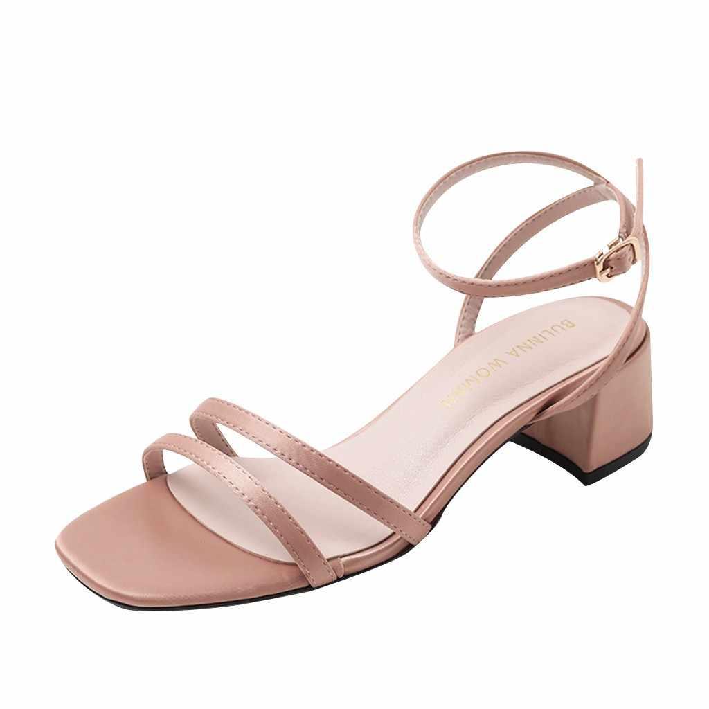 Phụ Nữ mùa hè Nữ La Mã Retro Hở Ngón Chắc Chắn La Mã Vuông Cao Gót Chiều Cao Giày Sandal Giày Đi Biển Lụa Chất Liệu Trên 12 tháng 6