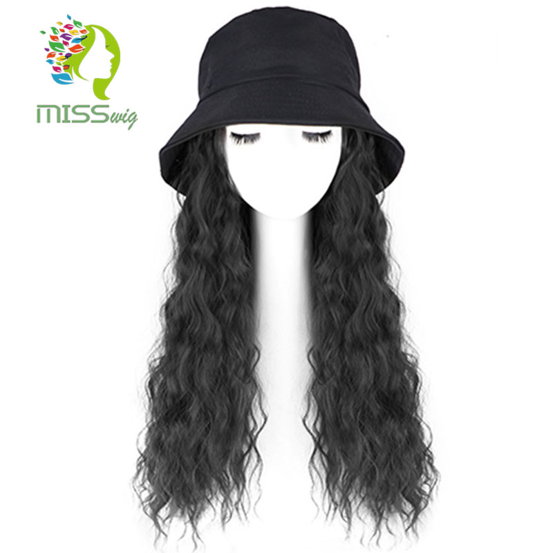 MISS WIG Kinky Curly Long 22 Inch Natural Black Cap Hair Extensions Hat Hairpiece Synthetic Heat Resistant Hair Piece