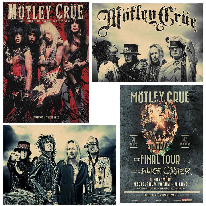 Motley Crue Vintage Retro rock band music Guitar Matte Kraft Paper Antique Poster Wall Sticker Home Decora