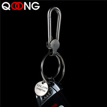 QOONG High-grade 304 Stainless Steel Men Key Chain Pure Handmade Polished Keychain Metal Male Ring Auto Car Holder Y27