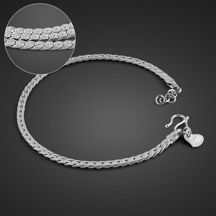Men Silver Jewelry Simple Fashion Sterling Silver 19 Cm Brace Men/Boy British Rock Style 925 Sterling Silver Bracelet Jewelry