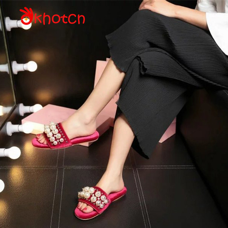 New Fashion Woman Slippers Luxury Brand Studded Pearl Indoor Slides Open Toe Comfortable Tenis Feminino Cute Woman Pantufa high speed round bottle beer bottle labeling machine with label marking machine date code printer
