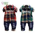 Resorte de la manera niños niños juegos de ropa a cuadros camisa de jeans para niños kids casual sport suit toddler babys ropa de niños de diseño