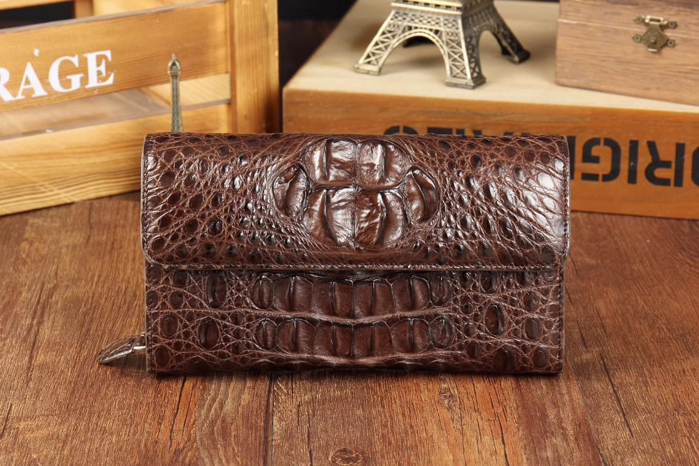 Luxury Quality Genuine/Real Crocodile Skin Leather Men Wallets Ctutch, Alligator head skin bank card  holder case long size luxury crocodile grain card holder folio