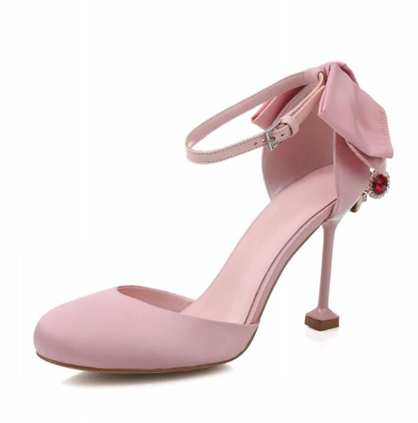 Women wedding pink runway shoes lace up heels pointed&round toe butterfly-knot 9 cm thin heels crystal catwalk/bridal high heel cinderella high heels crystal wedding shoes 14cm thin heel rhinestone bridal shoes round toe formal occasion prom shoes