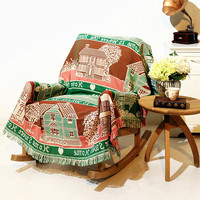 Shabby Chic Cabin Cotton Carpet Thick Blanket Throw Mat Sofa Towel Blanket Bed Cover Bedroom Felts Tapestry rural Vintage Decor