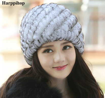 Luxury Autumn Winter Women's Genuine Real Knitted Rex Rabbit Fur Hats Handmade Lady Warm Caps Female   Beanies   Headgear