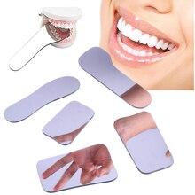 5 шт./компл. стоматологический двойные боковые зеркала Ортодонтические дентальные фотоотражатель Стекло покрытием titanium полости рта стоматологические зеркала