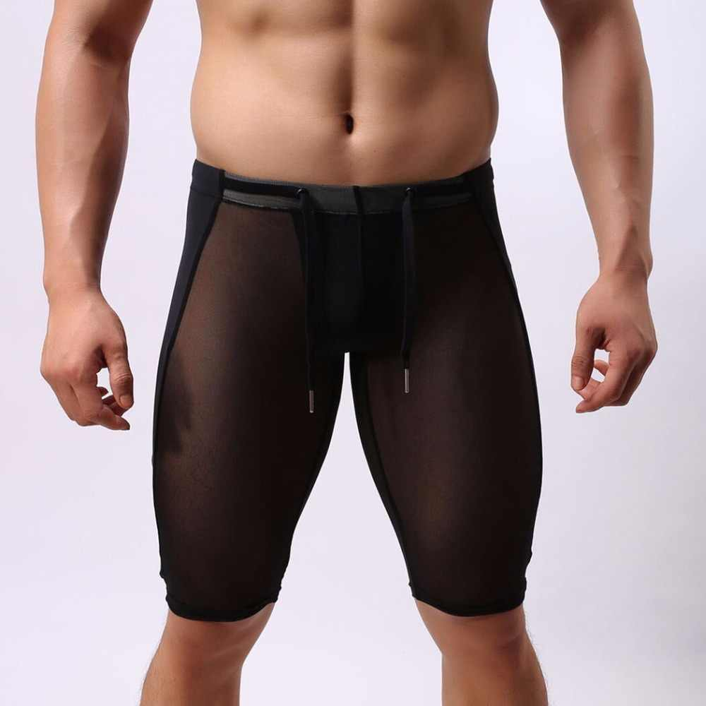 88b0876455e Super Sexy Men Multifunctional Sport Shorts Fit Gym Beach Swimming Shorts  Brave person Thin Transparent Gay