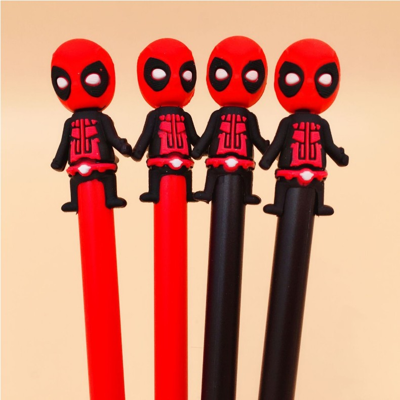 108 pcs/lot 0.5mm Noir Deadpool Gel Stylo Signature Stylo Escolar Papelaria Fournitures de Bureau de L'école