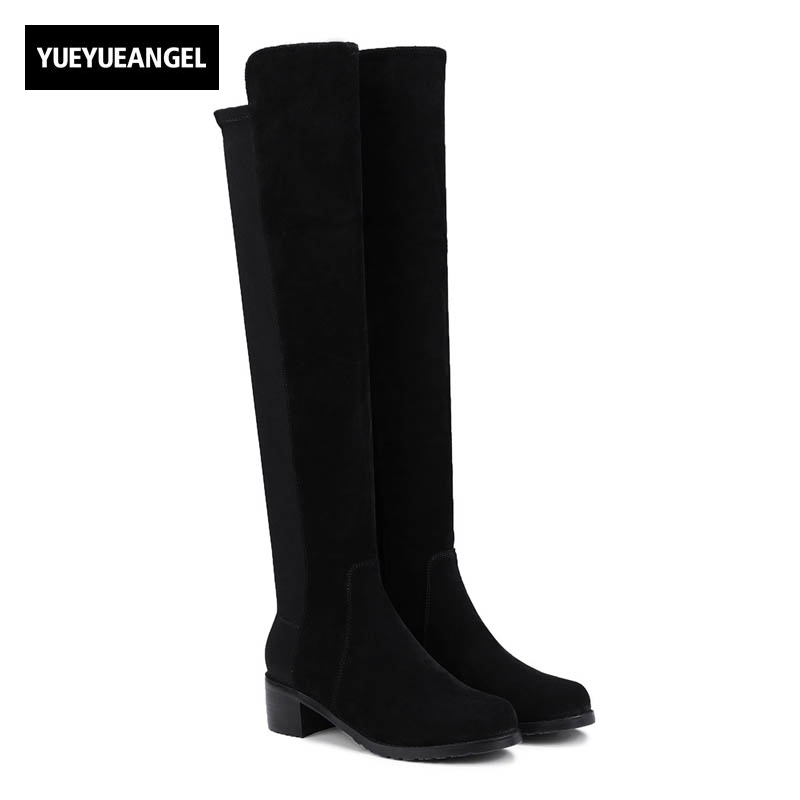 2018 New Top Quality Brand Womens Stretch Slip On Knee High Heel Shoes Female Footwear Sexy Slim Round Toe Shoes Fleece Lining