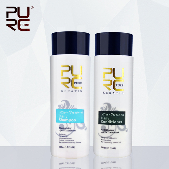 Daily shampoo and daily conditioner for keraitn hair treatment 100ml professional use for after keraetin make hair smoothing