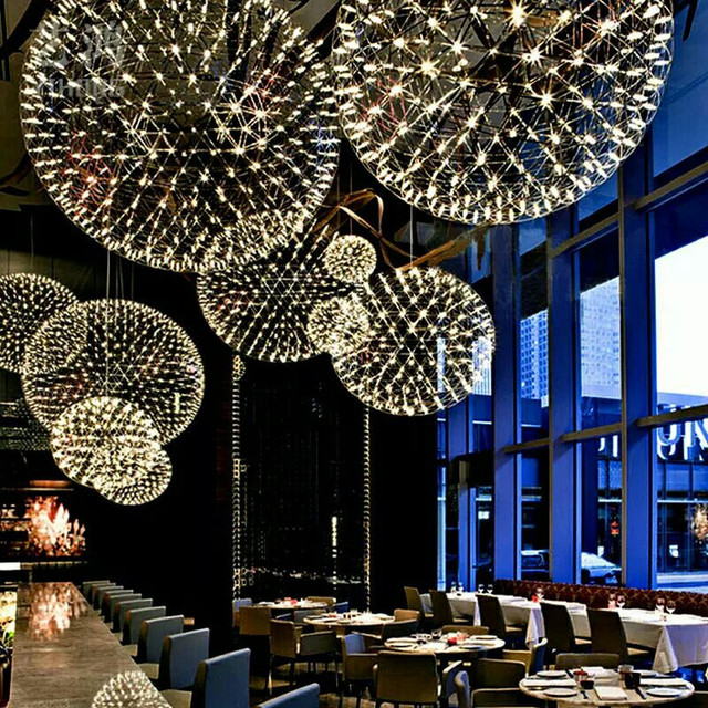 L24-Modern Rainmond Firework Pendant Lights Bar Light LED Stainless Steel Ball Pendant Lamp for Bar/Restaurant Lamparas Lustre