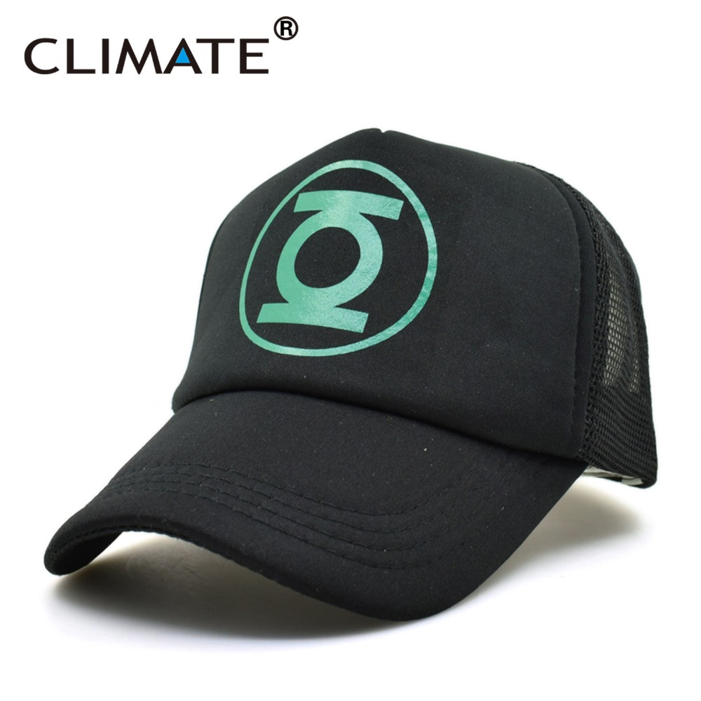 CLIMATE New DC Hero Green Lantern Cosplay Caps USA Comics Cool Black Mesh Trucker Caps Hats Adjustable Men Women summer cool denim zipper hollow worn stiletto womens sandals