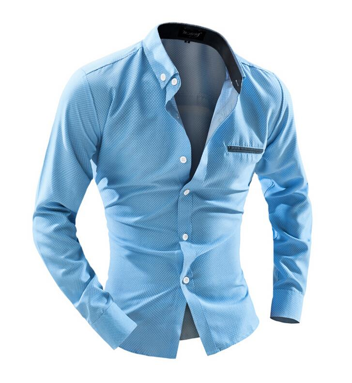 Long Sleeve Man Business Shirt Formal Solid Fitness Turn down Collar Shirt Casual Polka Dots Patchwork