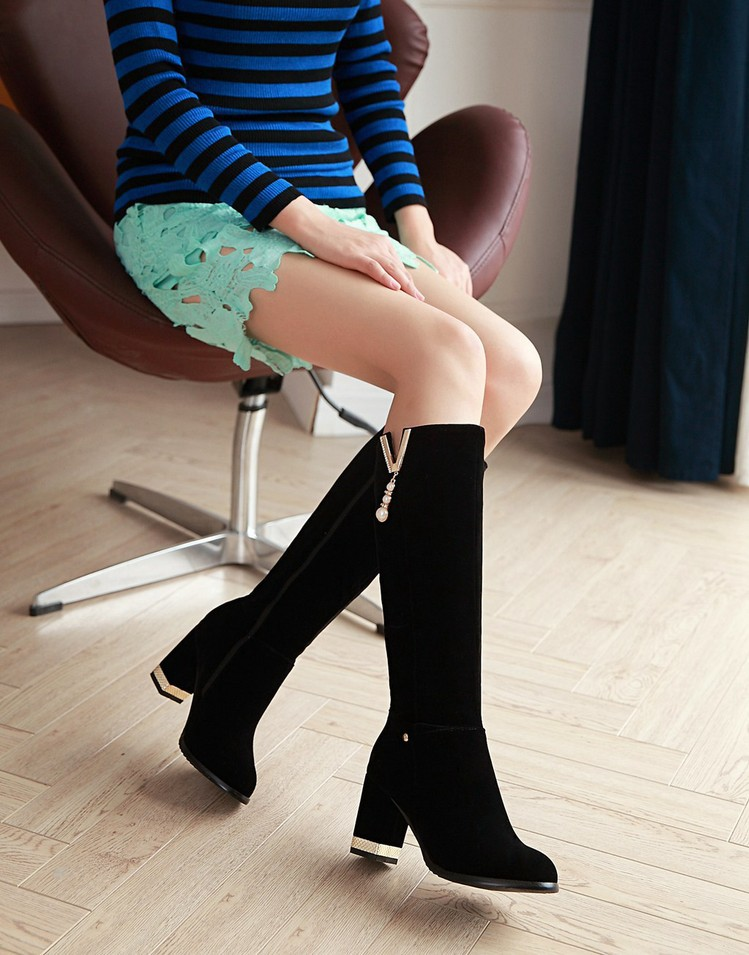 New Beaded Womens Large Size 40 High-heeled Suede Black Knee High Boots Autumn And Winter 7cm3