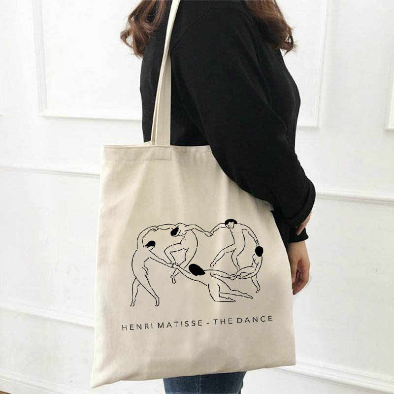 Summer fashion Matisse cartoon art new canvas bag fun large capacity Ulzzang ins women's Vintage casual fashion shoulder bags