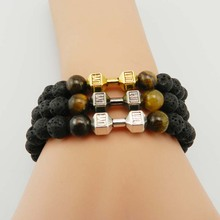 2016 Retail New Design Lave Stone Powerful Jewelry, GYM Barbell, Fitness Fashion Dumbbell Bracelets for Men's Party Gift