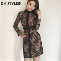 2018 Spring New Perspective Sexy Lace Dress High Waist Was Thin Long Sleeve Gauze Dress Tide