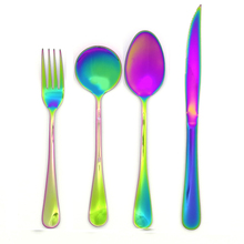 Stainless steel colorful flatware set steak knife fork spoon dinnerware  4pcs/set