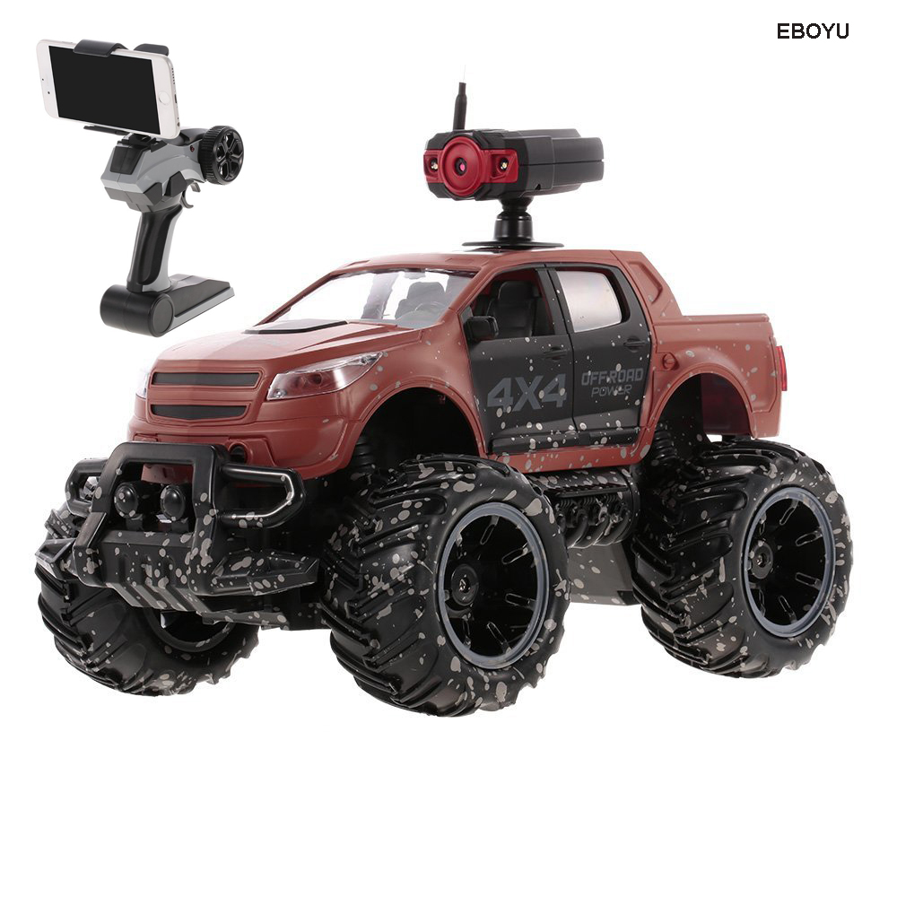 EBOYU Crazon 18MUD01 RC Car 1/14 2.4G 2CH 2WD High Speed 15km/h Off-Road Car with 0.3MP Wifi FPV Camera RC Monster Truck RTR hsp bajer 5b 1 5th 2wd rtr 26cc engine gasoline off road buggy 94054