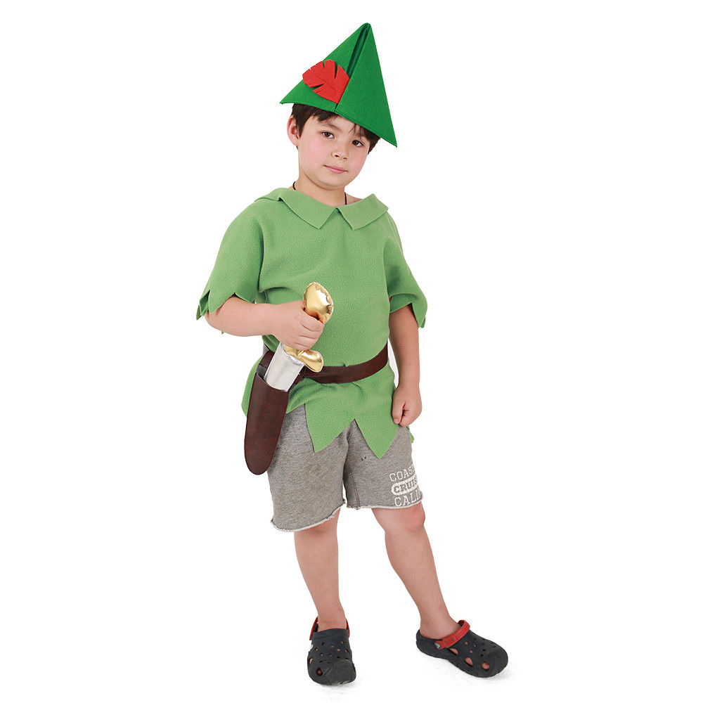 Peter Pan Halloween Costume Kids Peter Pan Shirt/Tunic With Belt Sword Hat Boys