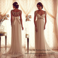 Sexy Summer Maternity Wedding Dress Chiffon Beads A Line 2015 Empire Bridal Gowns for Pregant Women Anna Campbell Vestidos