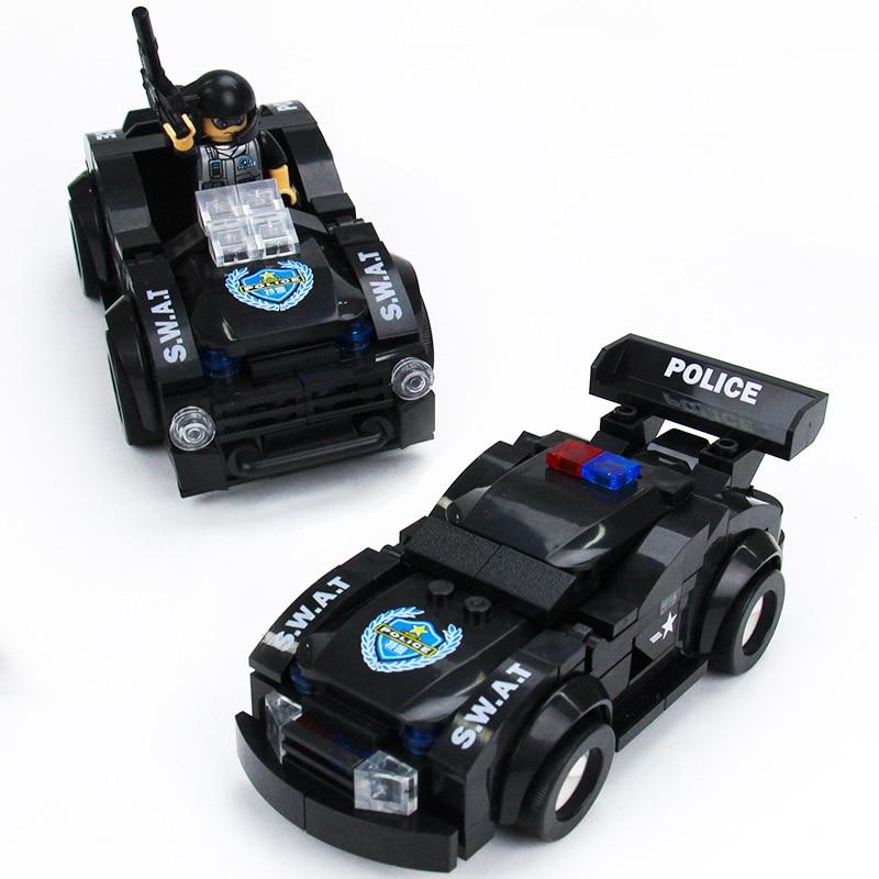 New Style Black Mini Transportation Block Car Building Blocks Compatible legoeing Police Bricks Kids Learning Education Game Toy