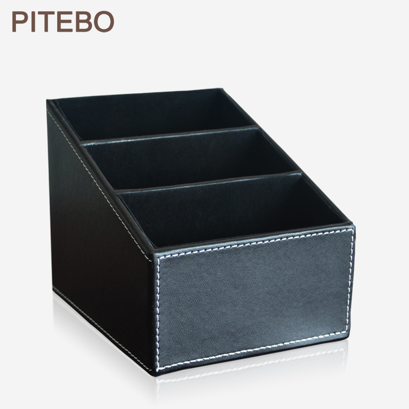 PITEBO 3 slot leather desk remote controller home sundries storage box display presentation organizer case holder black