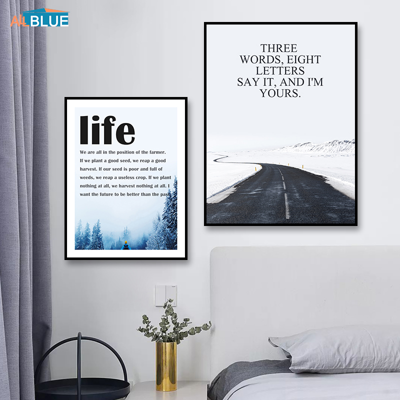 Scandinavian Poster Landscape Canvas HD Print Road Life Quote Wall Art Painting For Living Room Nordic Decoration Pictures Decor