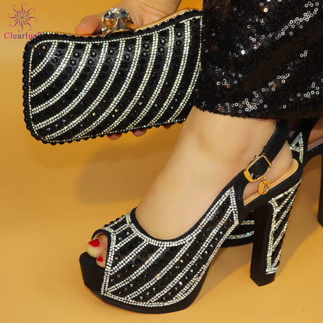 old 12.5cm Pumps 2019 African Women Shoes And Bag Set With Rhinestones Pumps Italian Shoes With Matching Bag For Evening Party
