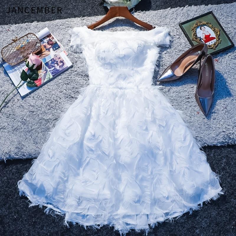 JANCEMBER 2019 Summer New Cocktail Dresses Off the Shoulder Short Sleeve Zipper Back Lace Feather Strapless Neck kokteyl dress