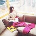 Шерсть смешанные 180*80 см трикотажные Русалка Хвост одеяло дети взрослых детские русалка одеяло Бросить Кровать детей пеленать спальный мешок