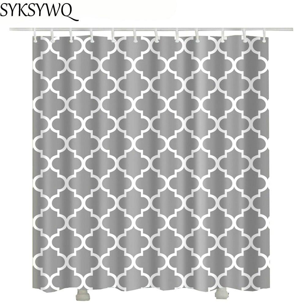 2018 Grey Grid Shower Duschvorhang Drop Shipping Curtain Waterproof Polyester Fabric Shower Curtain