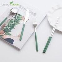 Colorful Handle Dinnerware Set Lemorange 304 Stainless Steel Fork Knife Scoop Kit Beautiful Cutlery Set TQQ0191