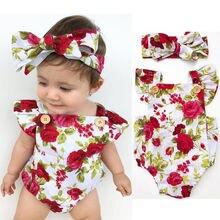 Милый комбинезон с цветочным рисунком из 2 предметов, одежда для маленьких девочек, комбинезон+ повязка на голову для детей 0-24 месяцев, комплект одежды для новорожденных, лидер продаж