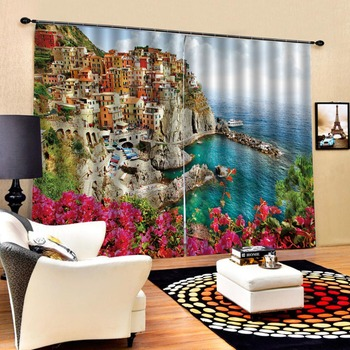 European 3D Curtains angel design Curtains For Living Room Bedroom the view of the city curtains