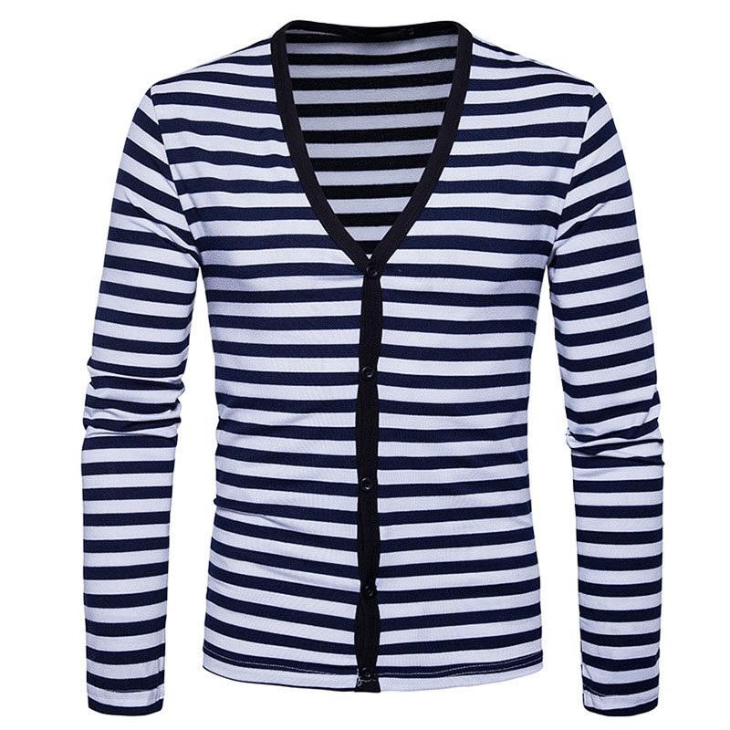 Basic Men's V-neck Horizontal Striped Sweaters Slim Fit Cardigan Mans Clothes 2018 Long Sleeve Sweaters For Male